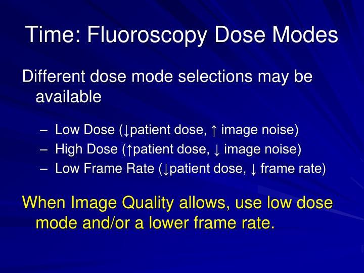 Time: Fluoroscopy Dose Modes