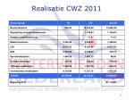 realisatie cwz 2011