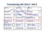 toewijzing lzk 2012 2013