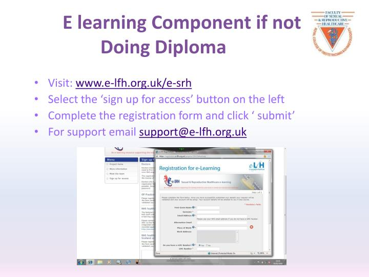 E learning Component if not Doing Diploma