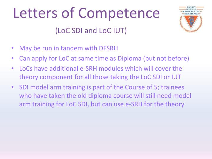 Letters of Competence