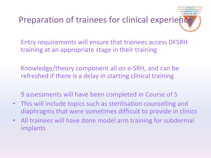 Preparation of trainees for clinical experience