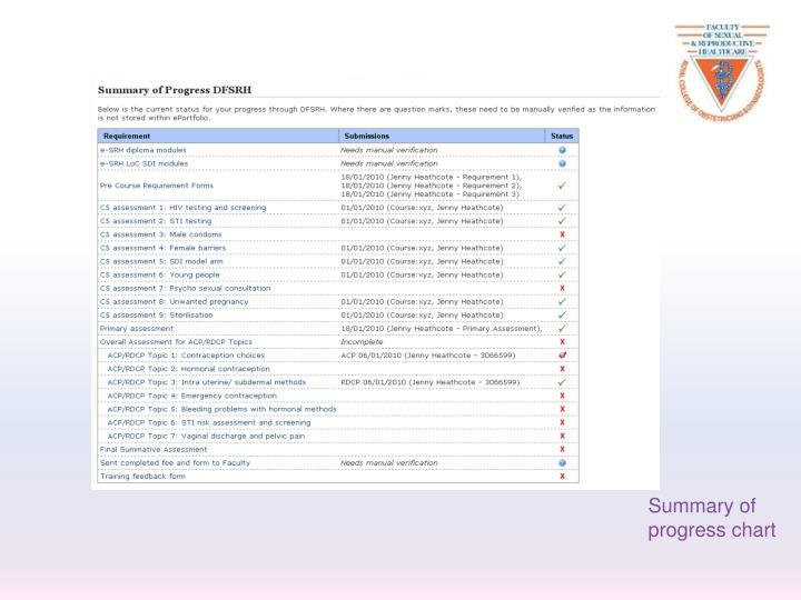 Summary of progress chart