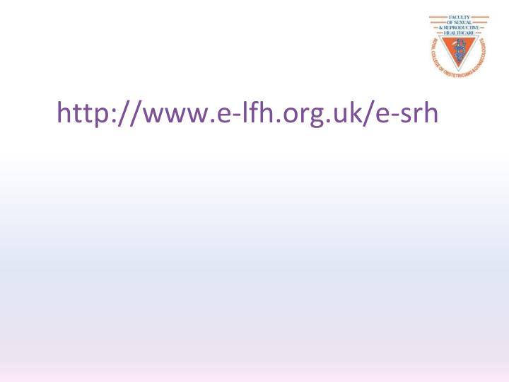 http://www.e-lfh.org.uk/e-srh
