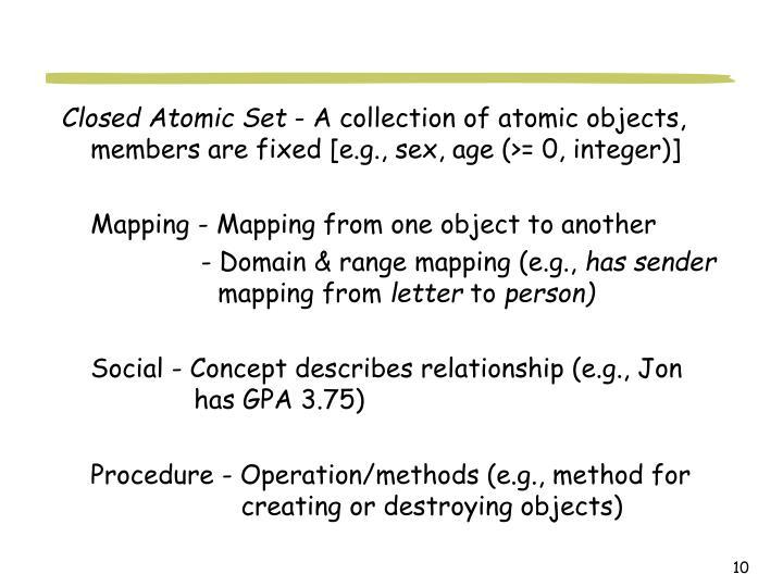 Closed Atomic Set