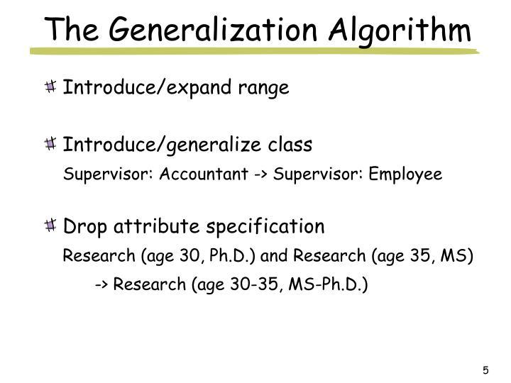 The Generalization Algorithm