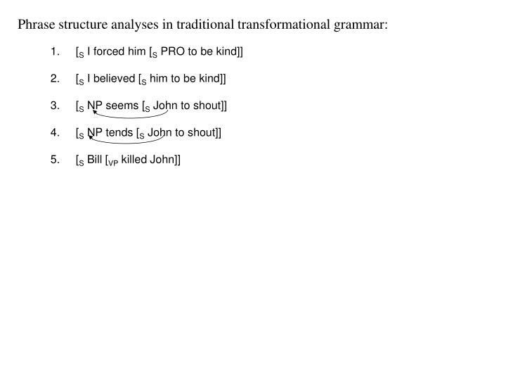 Phrase structure analyses in traditional transformational grammar: