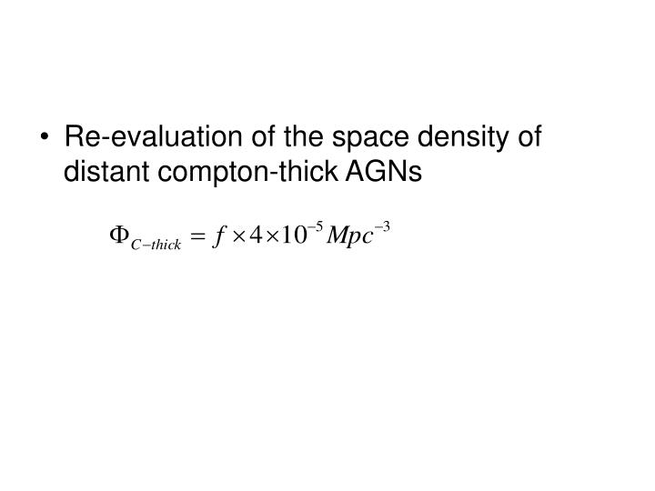 Re-evaluation of the space density of distant compton-thick AGNs