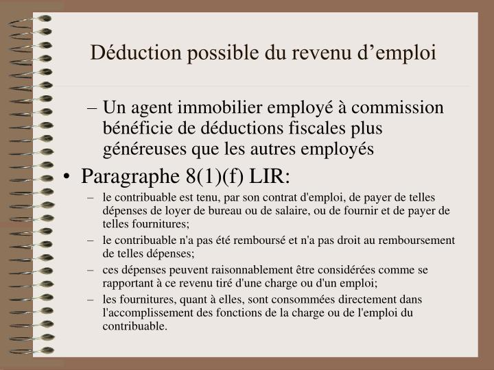 Déduction possible du revenu d'emploi