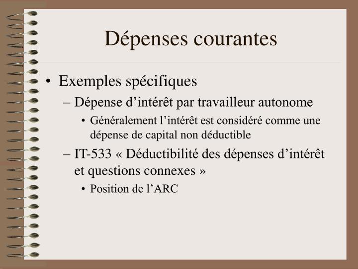 Dépenses courantes