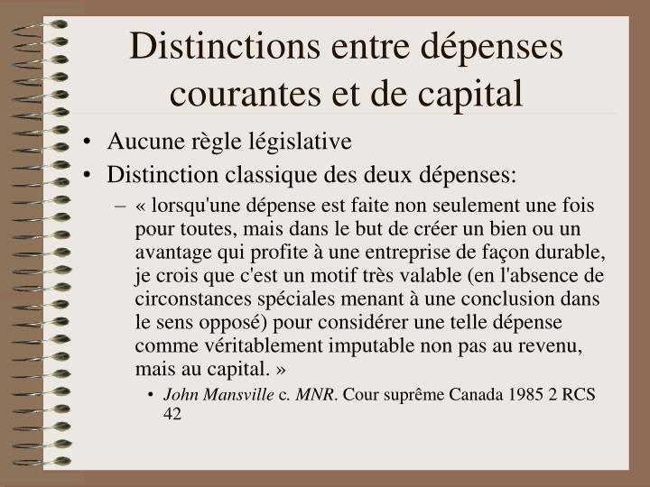 Distinctions entre dépenses courantes et de capital