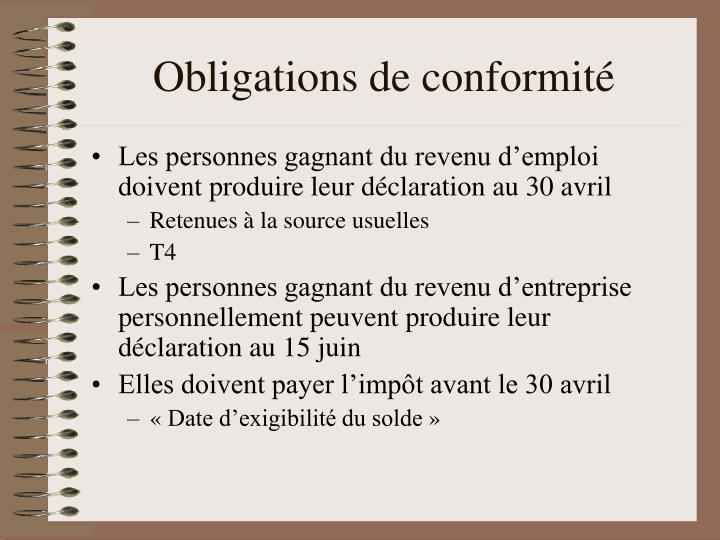 Obligations de conformité