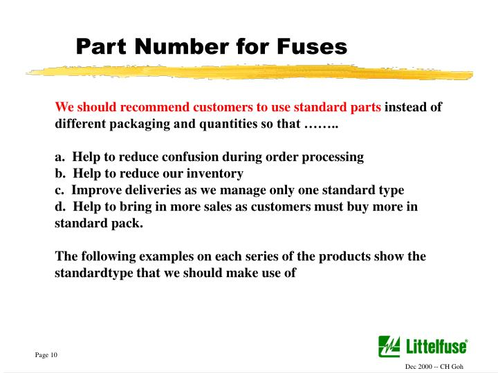Part Number for Fuses