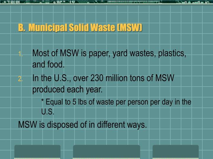 B.  Municipal Solid Waste (MSW)