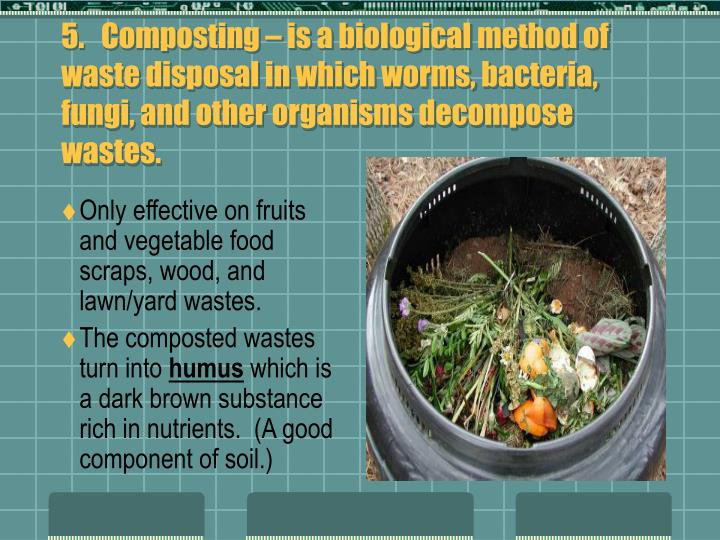 5.   Composting – is a biological method of waste disposal in which worms, bacteria, fungi, and other organisms decompose wastes.