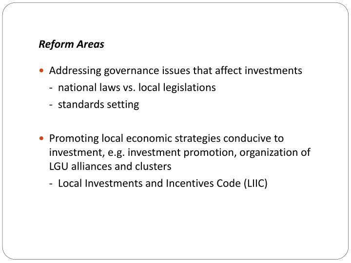 Reform Areas