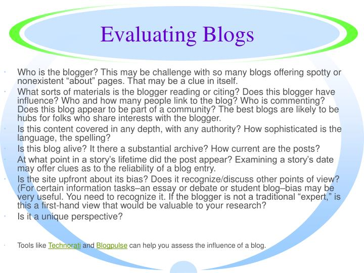 Evaluating Blogs