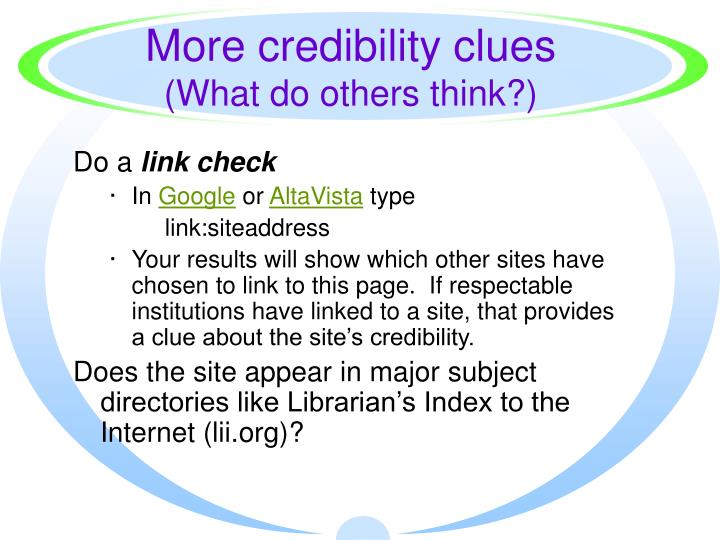 More credibility clues