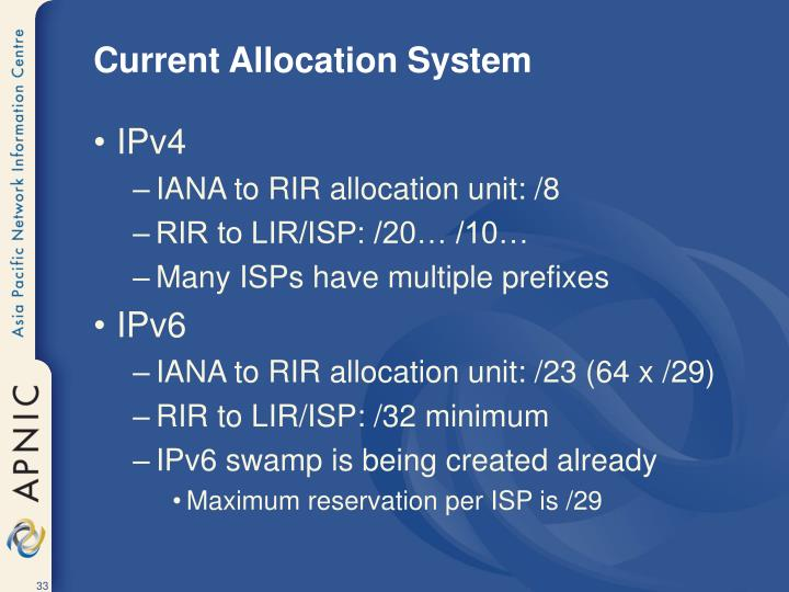 Current Allocation System