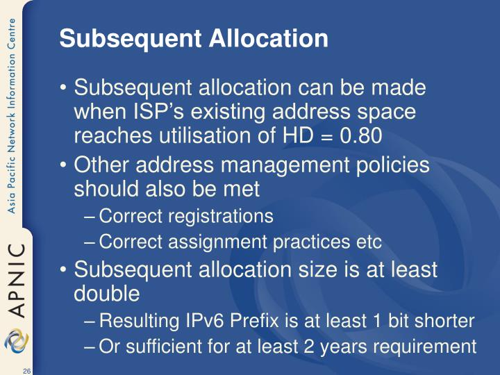 Subsequent Allocation