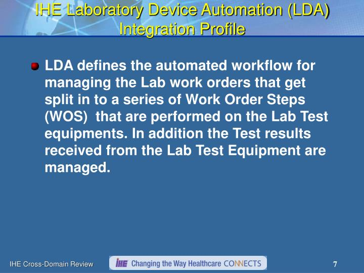 IHE Laboratory Device Automation (LDA) Integration Profile