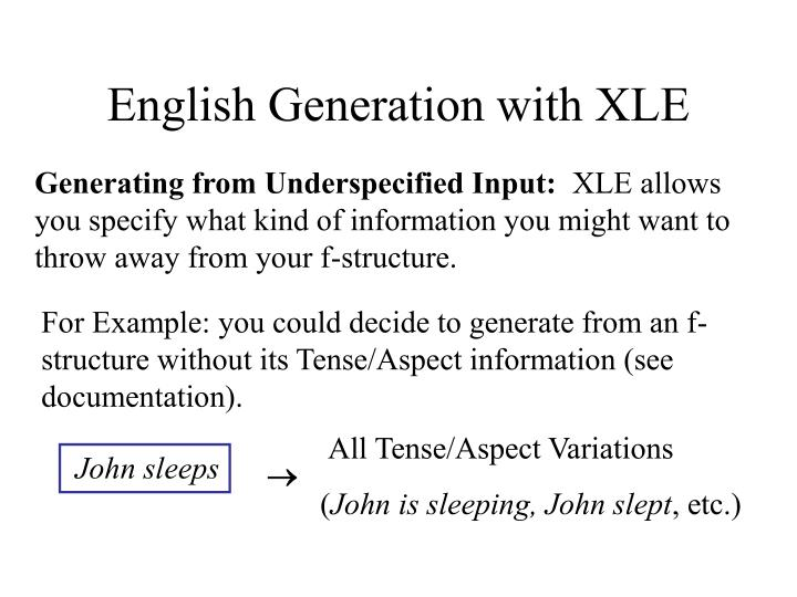 English Generation with XLE