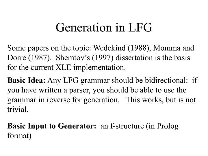 Generation in LFG