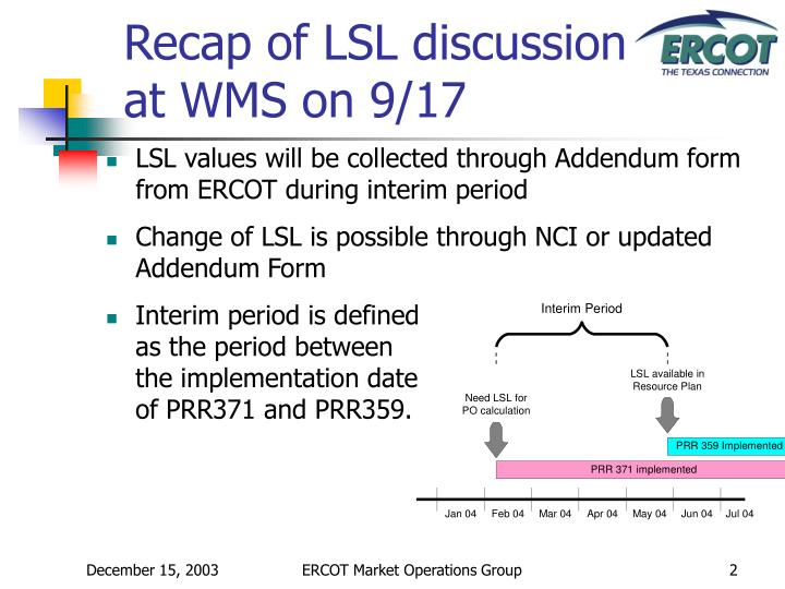 Interim period is defined as the period between the implementation date of PRR371 and PRR359.
