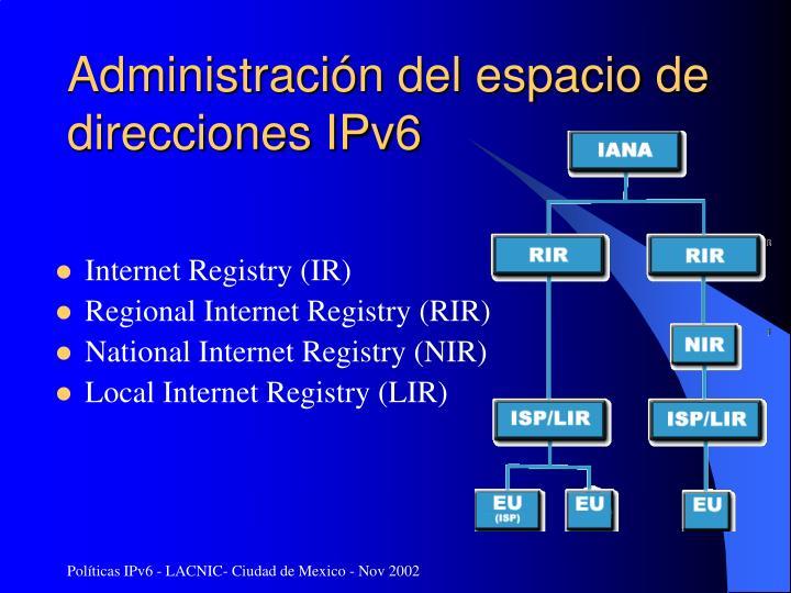 Administración del espacio de direcciones IPv6