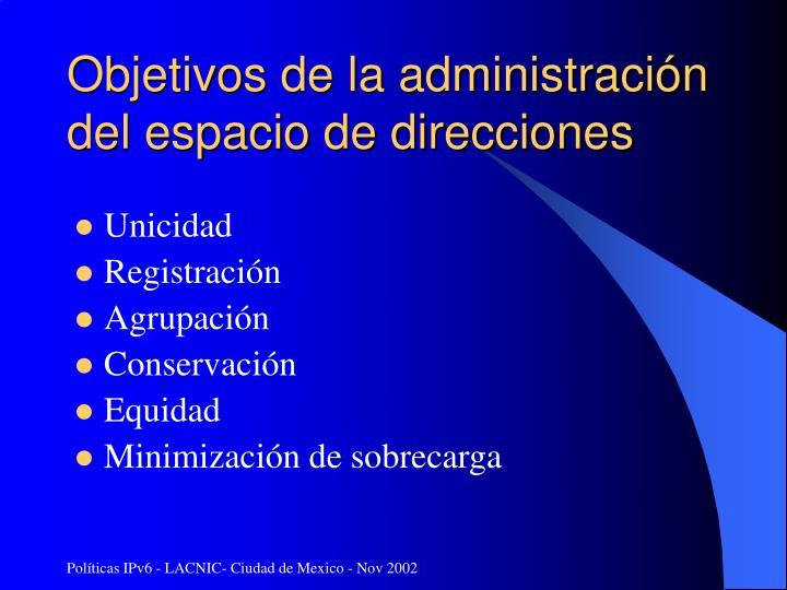 Objetivos de la administración del espacio de direcciones
