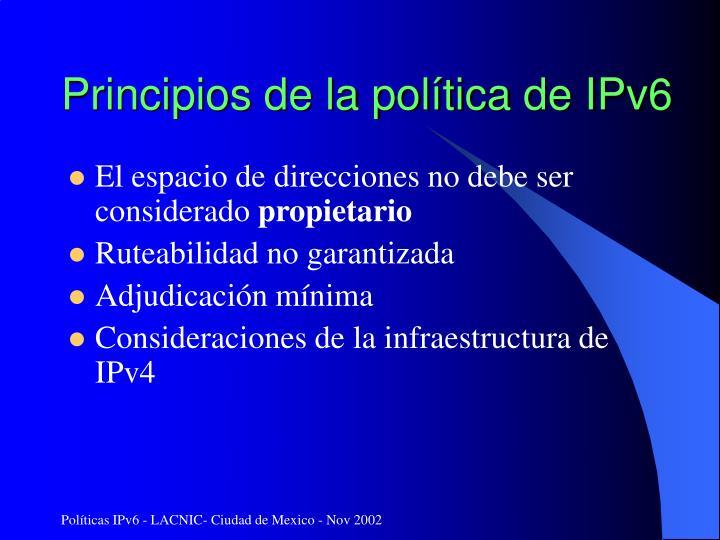Principios de la política de IPv6