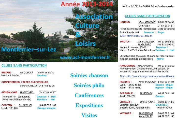 ACL – BP N° 1 – 34980  Montferrier-sur-lez