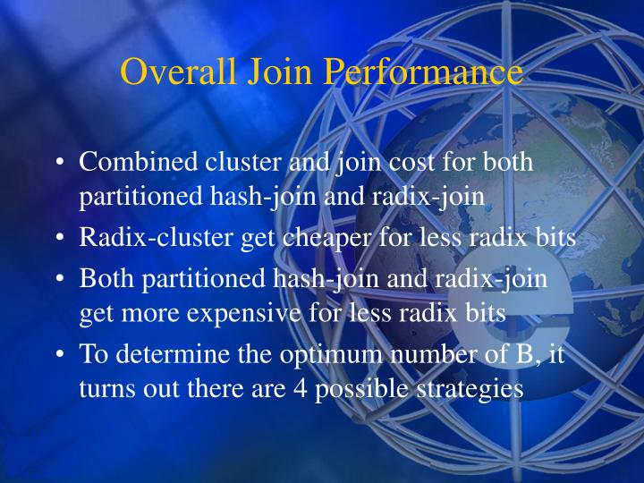 Combined cluster and join cost for both partitioned hash-join and radix-join