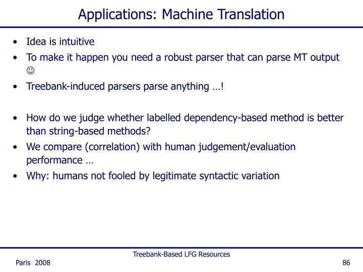 Applications: Machine Translation