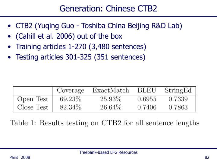 Generation: Chinese CTB2