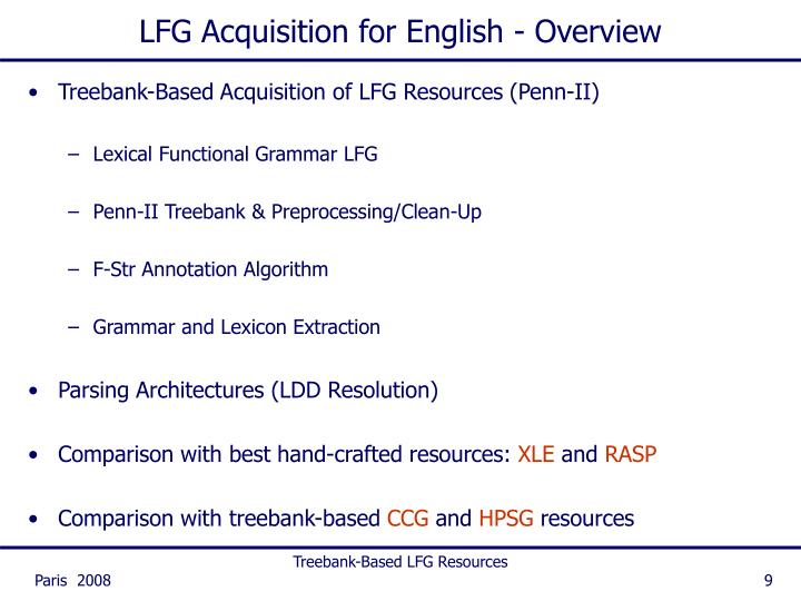 LFG Acquisition for English - Overview