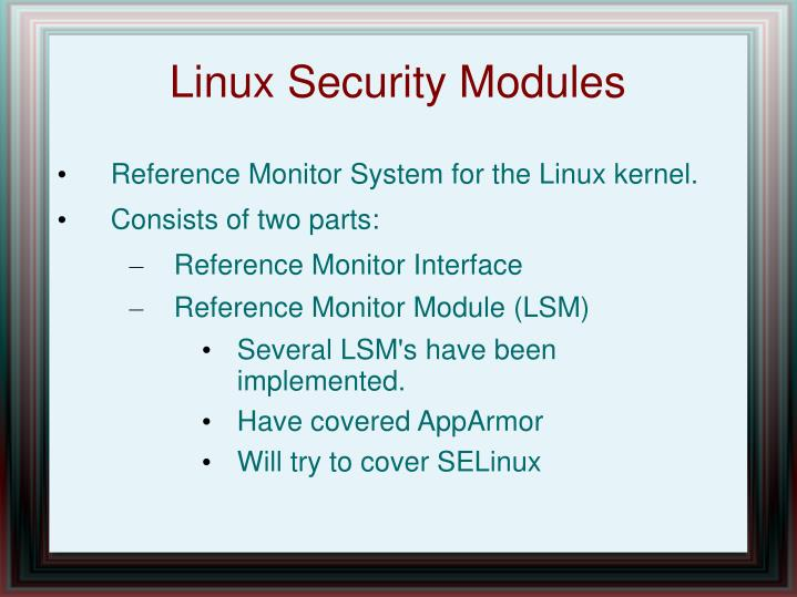 Linux security modules