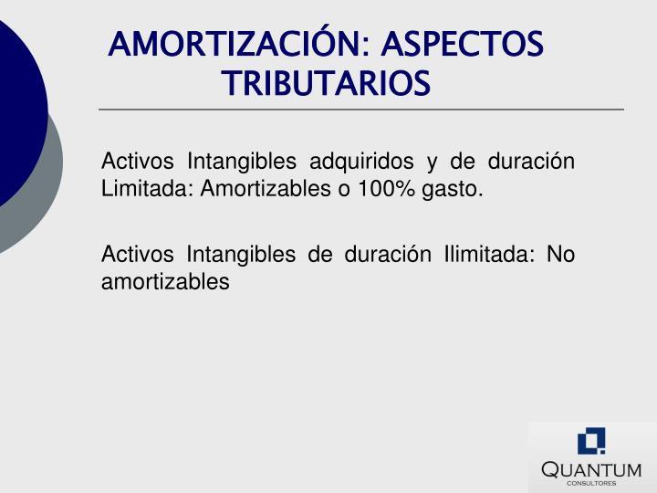 AMORTIZACIÓN: ASPECTOS TRIBUTARIOS