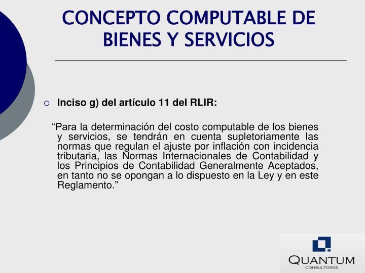 CONCEPTO COMPUTABLE DE BIENES Y SERVICIOS