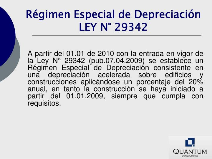 Régimen Especial de Depreciación