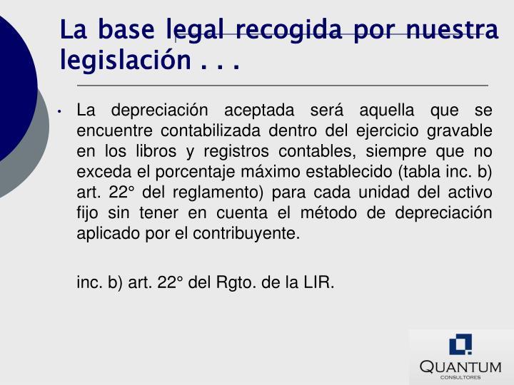 La base legal recogida por nuestra legislación . . .