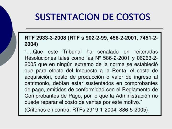 SUSTENTACION DE COSTOS