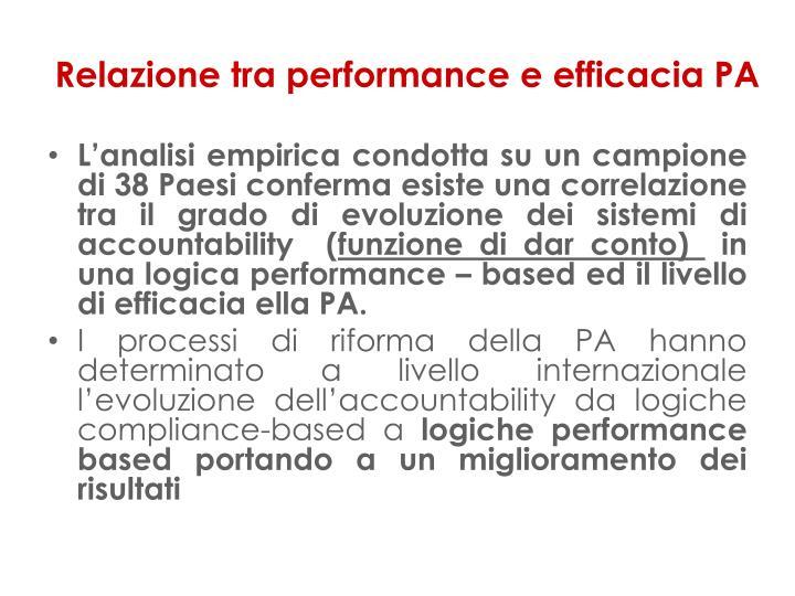 Relazione tra performance e efficacia PA