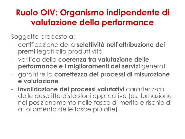 Ruolo OIV: Organismo indipendente di valutazione della performance