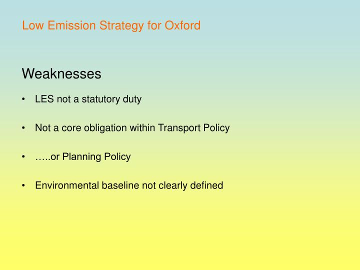 Low Emission Strategy for Oxford