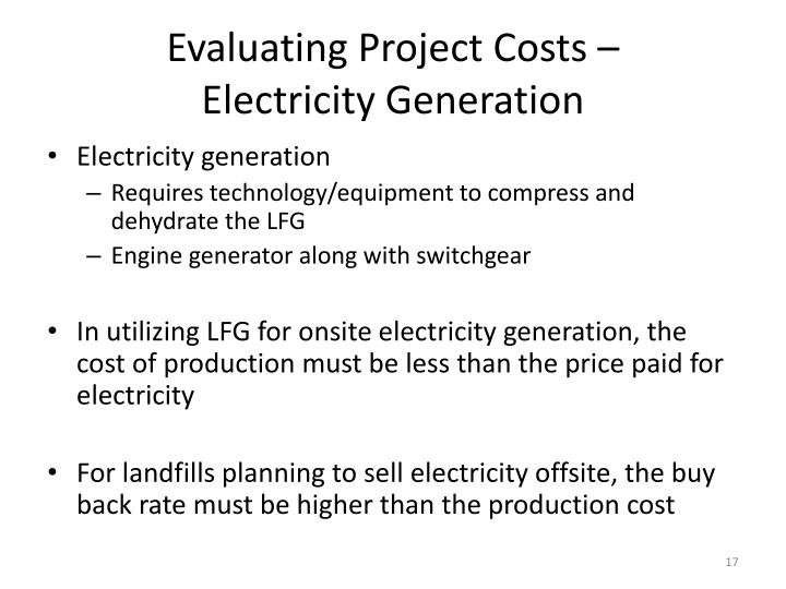Evaluating Project Costs –