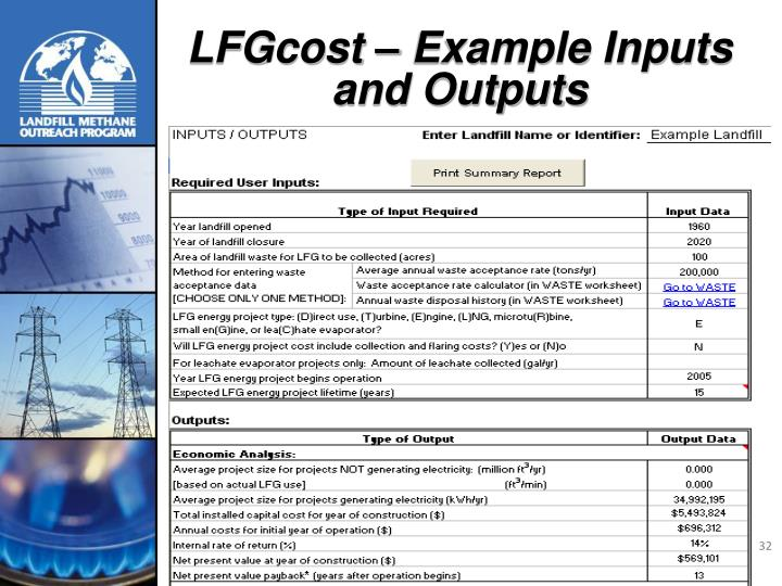 LFGcost – Example Inputs and Outputs