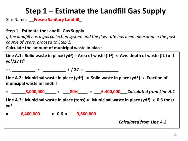 Step 1 – Estimate the Landfill Gas Supply