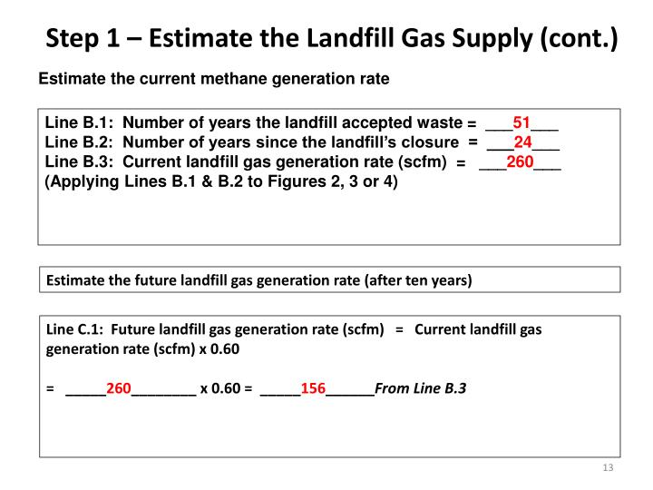 Step 1 – Estimate the Landfill Gas Supply (cont.)