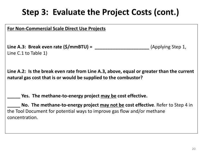 Step 3:  Evaluate the Project Costs (cont.)